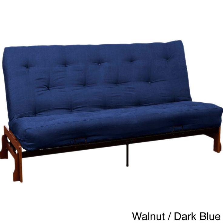 Epicfurnishings Boston Microfiber Suede 10 Inch Inner Spring Queen Size Futon Set Sleeper Bed Medium Oak Celery Green