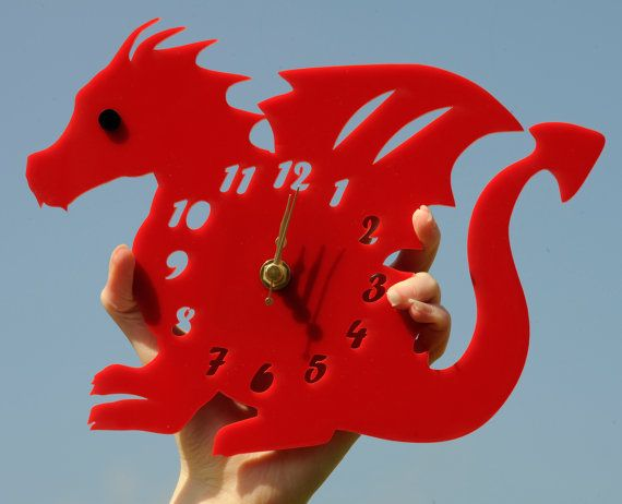 Welsh dragon clock perfect for boys rooms! Handmade laser cut 'Dylan The Dragon' clock