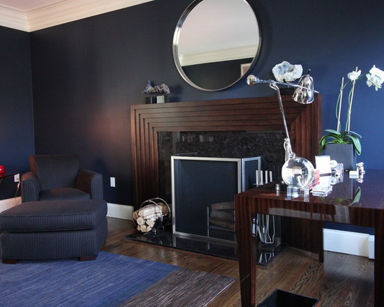 Living Room Ideas With Dark Wood Furniture Decor For Apartment Contemporary Blue Wall And White Trim Design - Sherwin ...