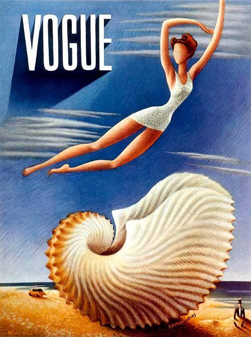 Vintage Vogue cover by Miguel Covarrubias, July 1938 ~Via Klaverke