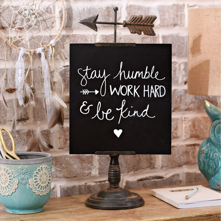 Keep your free-spirited style on task with our Distressed Arrow Chalkboard! With a bohemian-inspired arrow topper, this standing chalkboard makes for a chic desk accessory that your mom will for sure love!