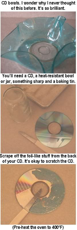CD bowls - picture how-to; really clever!