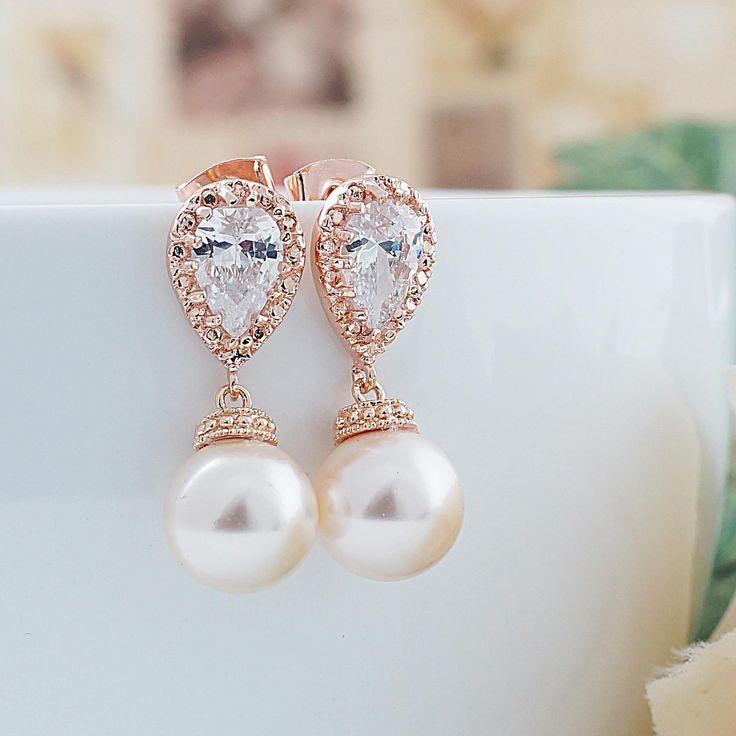 Pearl drop Rose Gold Bridal Earrings - Earrings Nation