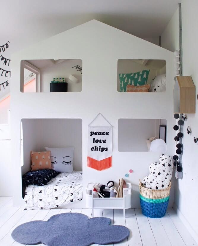Great kids area. Love the colourful accessories to the white room, but not sure how practical this would be with the kids! | interiordesign | decor | styling | creative | modern