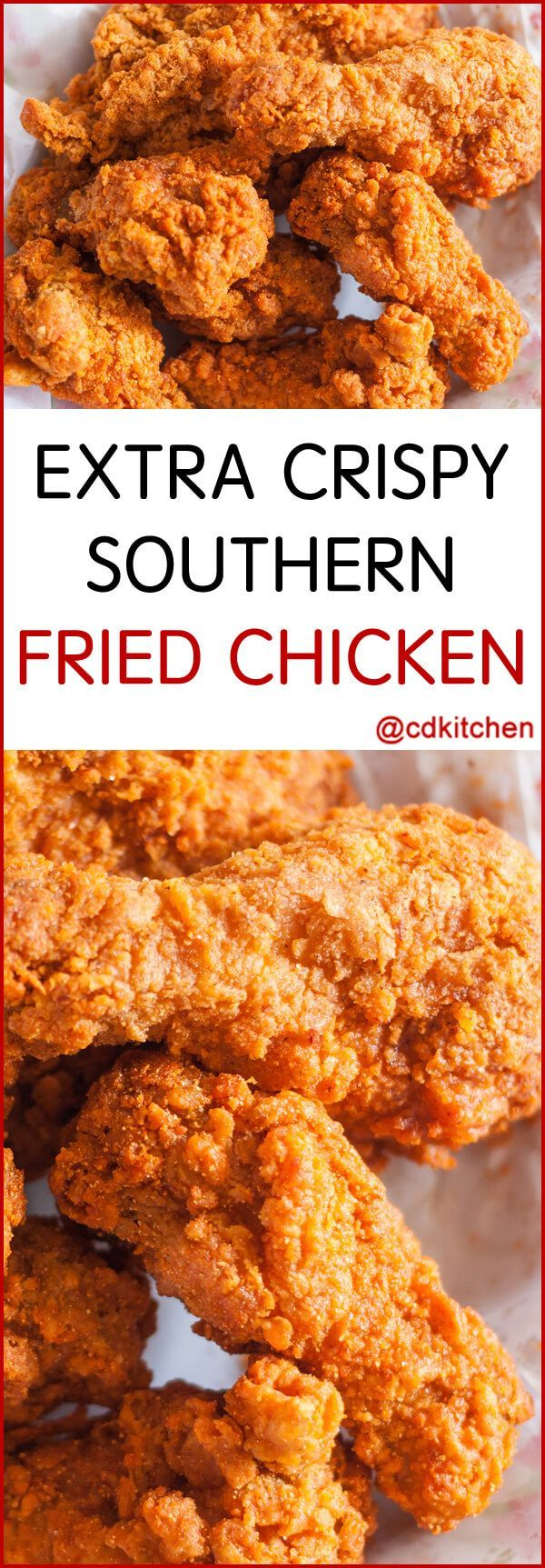 If you love a crispy coating on your fried chicken then this southern-style recipe is a must-try. Can be made stove-top or in a deep-fryer.   CDKitchen.com