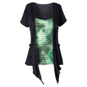 Pyramid Collection: Pyramid Collection, Spiritual Gifts, P83121 Xs, Rippled Green, New Age, Pyramidcollection Com Clothes, Rippled Top, Black Tops