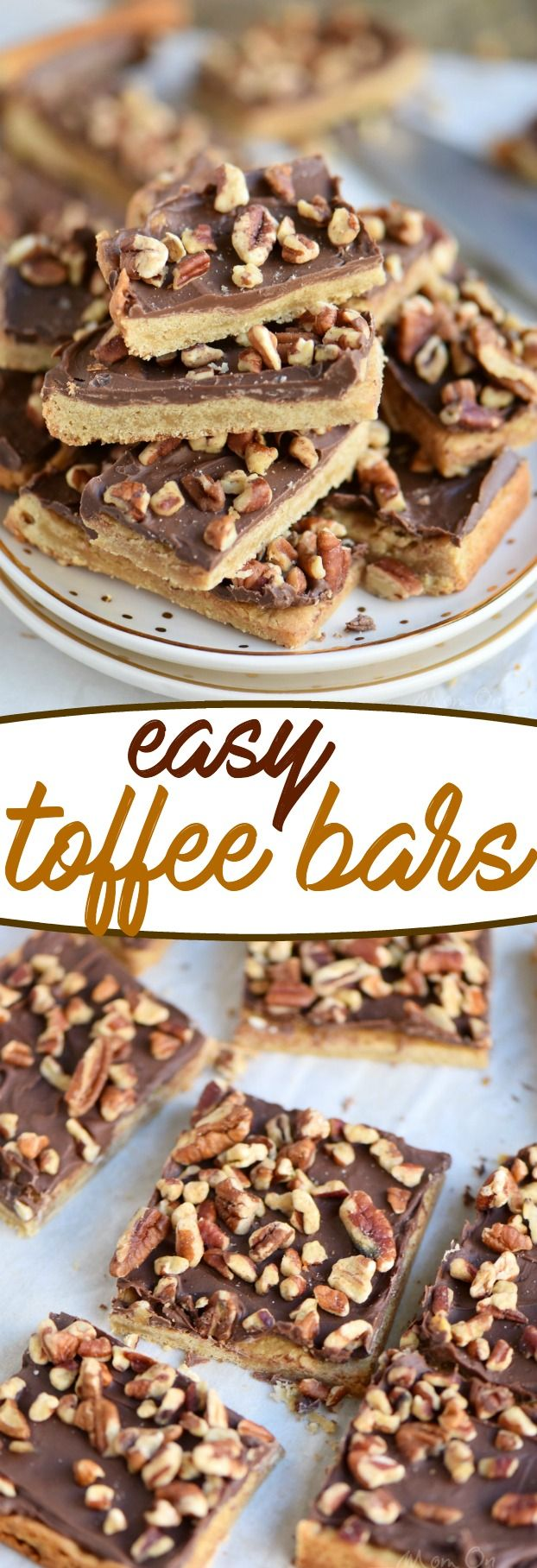 You're going to go crazy for these Easy Toffee Bars! Simply delicious cookie bars topped with milk chocolate and pecans! Just fantastic! // Mom On Timeout