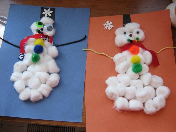 Cotton ball snowman - great winter craft for preschoolers