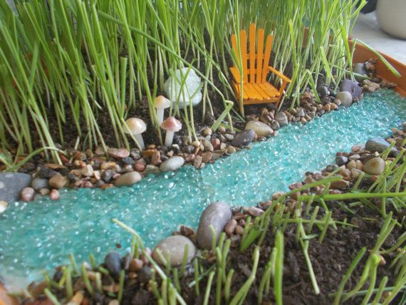 Gnome In Garden: Bubbling River Or River With Pond Miniature Garden Fairy