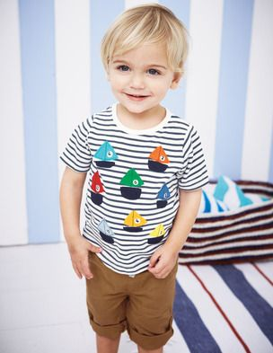 Cute embellishment on a boy's tee {BodenClothing: Little Vehicles T-shirt} #sew #embellish #appliquè