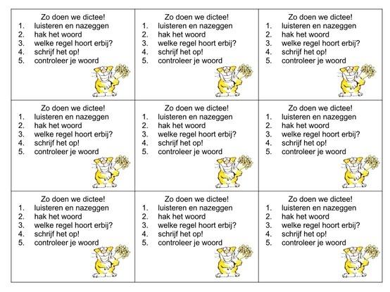 Zo werk ik nu ook in de klas, stappenplankaartjes voor het maken van het dictee. Elke dag!!