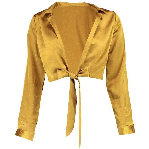 Boohoo Petite Rosie Tie Front Satin Shirt ($21) ❤ liked on Polyvore featuring tops, blouses, shirt top, tie-front shirts, brown top, boohoo tops and brown shirts