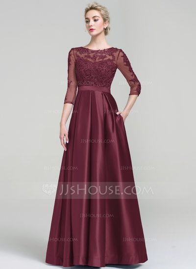 [US$ 124.19] Ball-Gown Scoop Neck Floor-Length Satin Evening Dress (017093487)