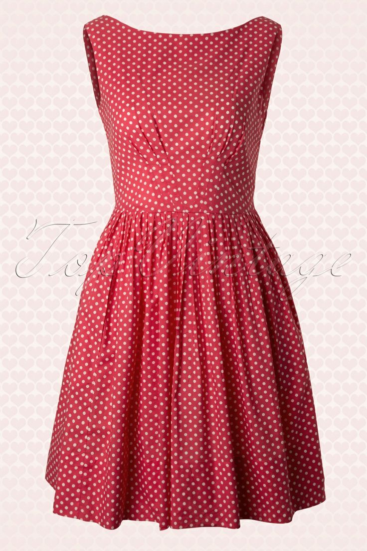 Emily and Fin - 50s Abigail A-line Dress in Red and White Polka