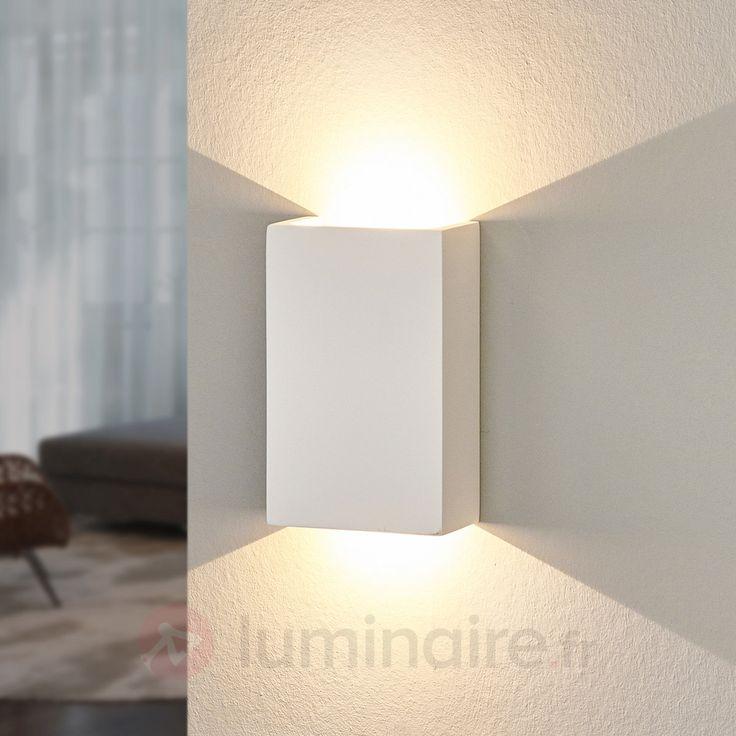 Applique LED Fabiola en plâtre, référence 9613011 - Lampes et luminaires DIY en plâtre à peindre chez Luminaire.fr !