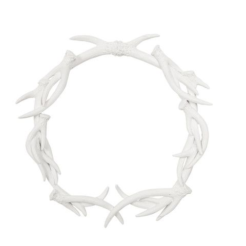Antler Ceramic Wreath - White