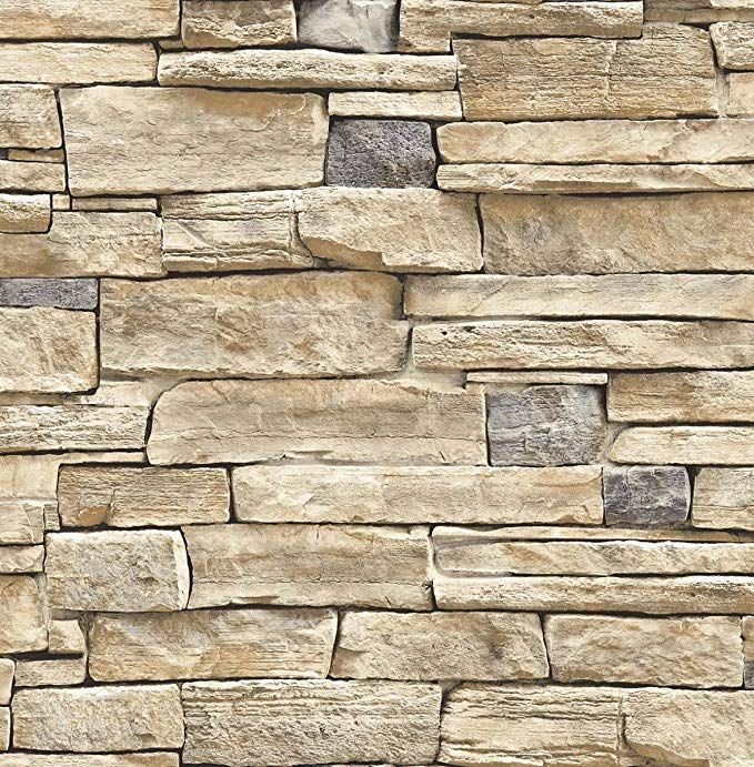 Amazon Com Wallpaper Faux Smooth Stacked Rock Stone Beige Tan Charcoal Cream Gray Home Improvement With Images Limestone Wall Stone Wallpaper Wall Stickers Wallpaper