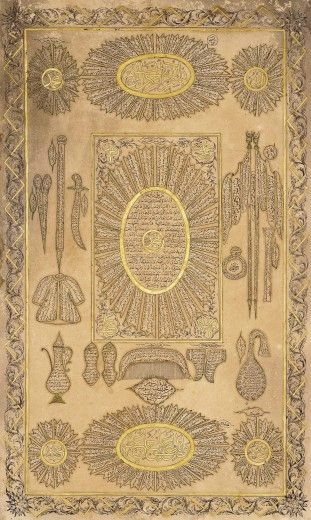 Hilya Combined with the Relics of the Prophet Muhammad, Turkey, 19th century; Ink and gold on paper, 47 x 29.4 cm. Nasser D. Khalili Collection, London (CAL441) © Nour Foundation. Courtesy of the Khalili Family Trust.