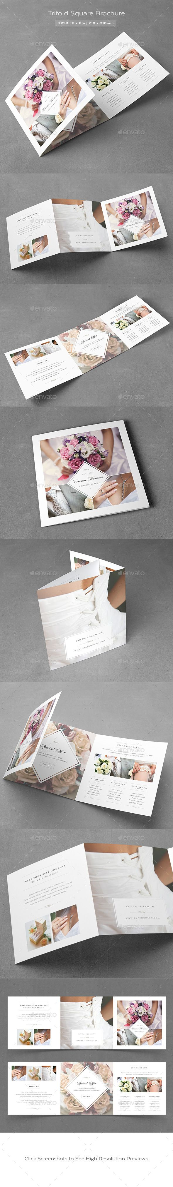 Photography Square Trifold Brochure Template PSD #design Download: http://graphicriver.net/item/photography-square-trifold-brochure/14257275?ref=ksioks