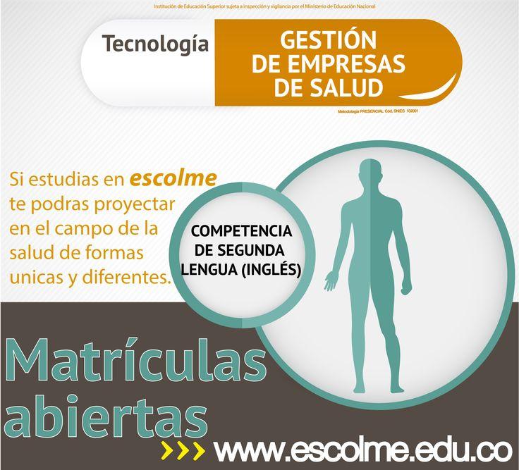 Estudia la tecnología  en Gestión de empresas de salud, y adquiere competencias de segunda lengua (ingles).  Cliquéame para inscribirte http://bit.ly/1SrJ8MK o ingresa a www.escolme.edu.co Matrículas abiertas.