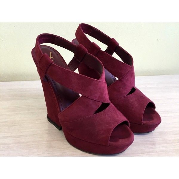YSL BURGUNDY WEDGE SANDALS, 38 ❤ liked on Polyvore featuring shoes, sandals, yves saint laurent, burgundy sandals, burgundy shoes, wedge sandals and wedges shoes
