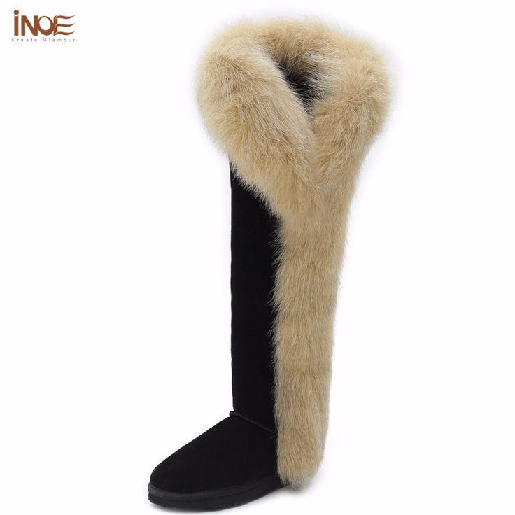 Купить товарИНОЕ мода лисий мех botas корова сплит кожа над коленом долгая зима снег сапоги для женщин бедра зимние ботинки черные коричневый в категории Снег Сапогина AliExpress.     История бренда      ------------------------------------------------------------------------------------------------