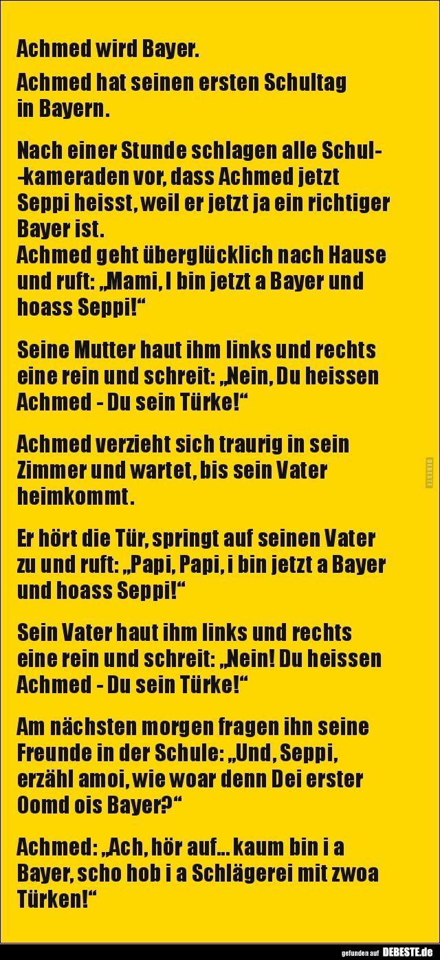 Achmed Wird Bayer Achmed Hat Seinen Ersten Schultag In Lustige