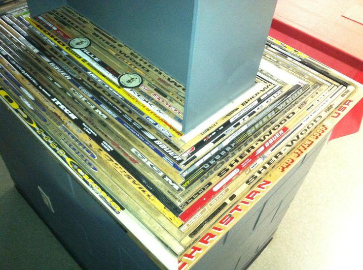 Old Hockey Sticks Salvaged Into A Shelf