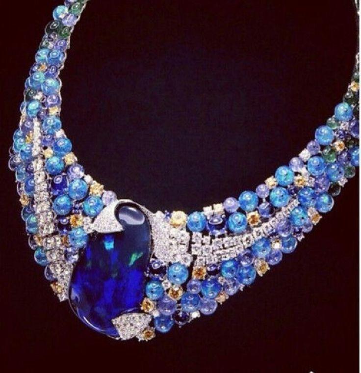 SCAVIA,opal and diamond necklace