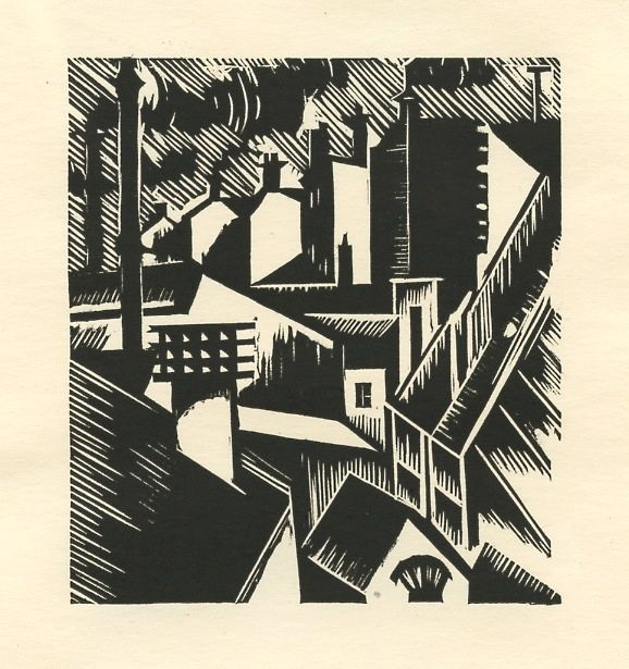 """Edward Wadsworth,""""Townscape""""  I love Wadsworths work. I love the Vorticists use of opposing lines and bold clashing imagery to create confusion and movement!"""