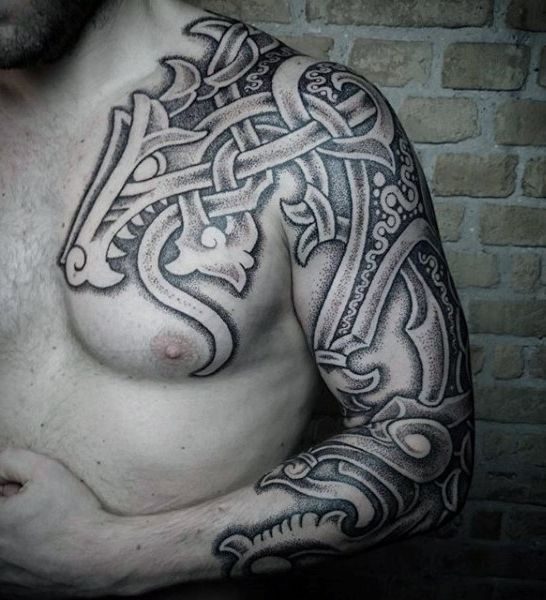 Ancient Dragon Norse Tattoos Mens Sleeves And Chest