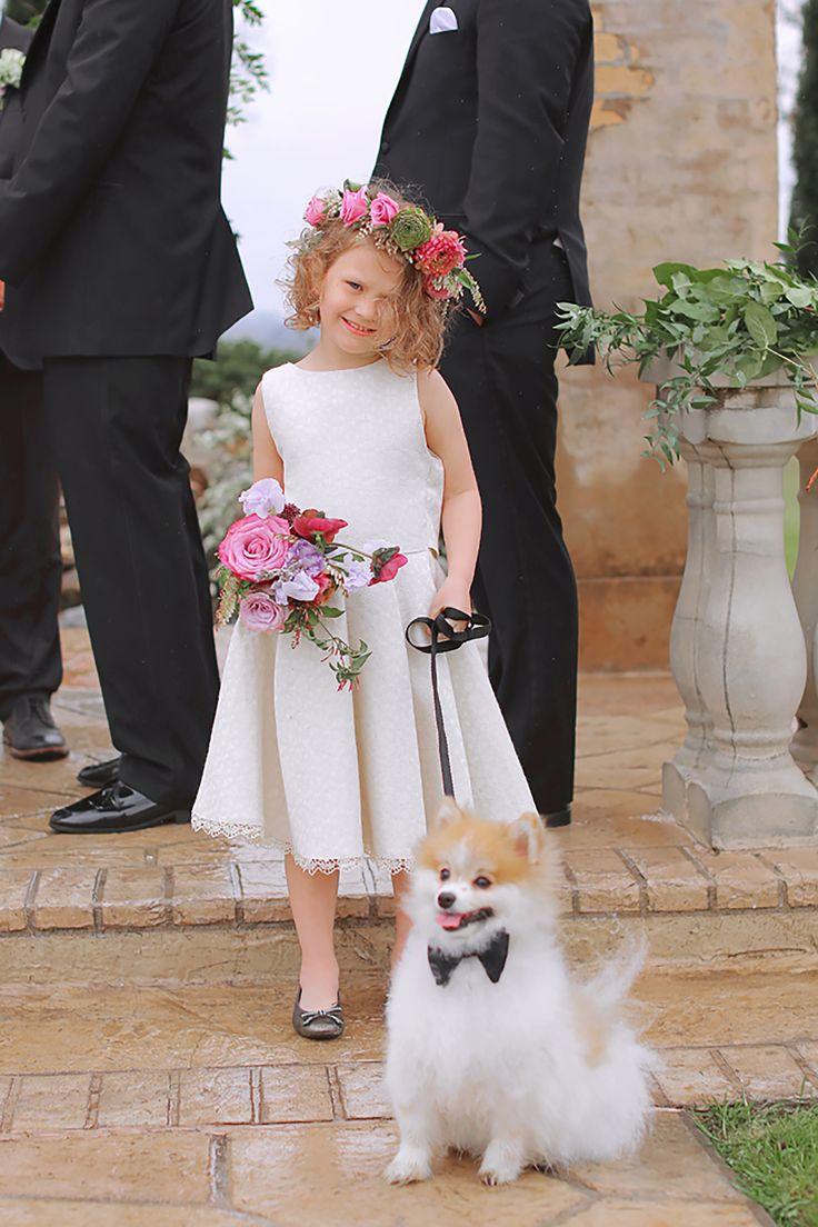 Flower girl and ring bearer pup