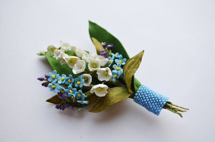 White and Blue Spring Flower Brooch Lilies of by BeadsGemsFlowers