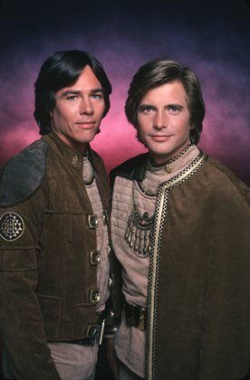 "Original television series ""Battlestar Galactica"" 1978, starring Richard Hatch as Apollo and Dirk Benedict as Starbuck."
