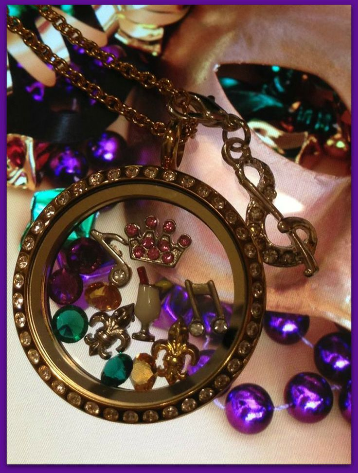 Mardi Gras! Who needs beads when you've got a beautiful South Hill Designs locket! www.southhilldesigns.com/hbombgems