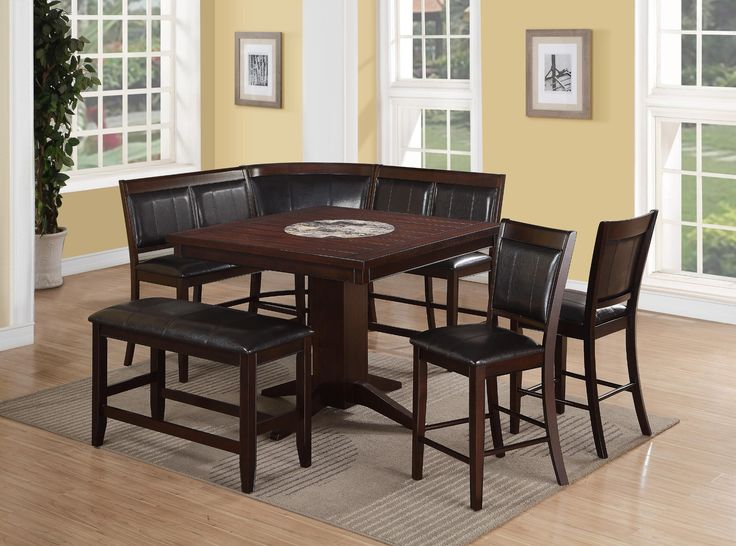Harrison Nook 6 Piece Corner Nook Counter Height Table 2 High Back Benches Corner Be