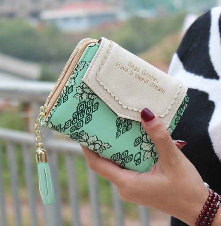 Women Wallets 2017 New Fashion Floral Pattern Two Fold Ladies Wallet Short Feminino Cute Zipper Tassel Clutch Purse Card Holder