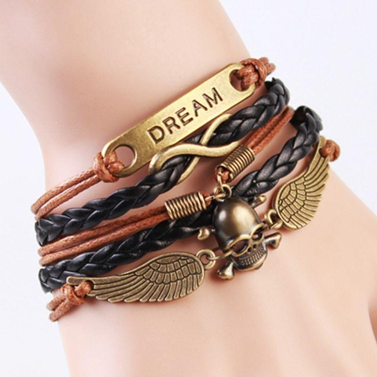 Fashion Multilayer Braided Bracelets Vintage Music Note Anchor bracelet, Multicolor woven leather bracelet pulseira de couro