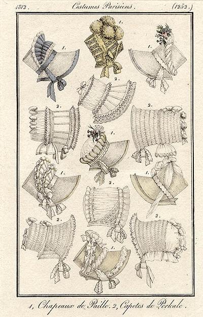 1812 fashion plate - vintage bonnets