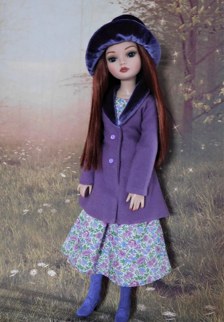 https://flic.kr/p/SRQEV6 | A vision in Violet..... | Kenda shows off the whole outfit... dress, coat and hat.  Dress made from Raccoon's Rags pattern SSP035.  Coat and hat from Raccoon's Rags pattern SSP042.