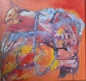 Orange 3, Acrylic on canvas, 40 cm x 40 cm