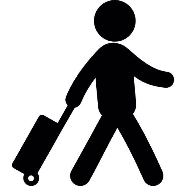 Pittogramma di un Viaggiatore. Il Viaggiatore viene ormai identificato attraverso un unico oggetto: il pittogramma ne è un chiaro esempio, poichè cancellando l'elemento della valigia raffigurerebbe semplicemente un uomo che cammina.