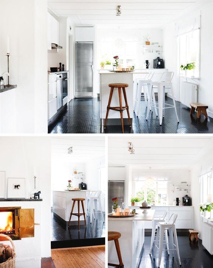 kitchen with tolix stools