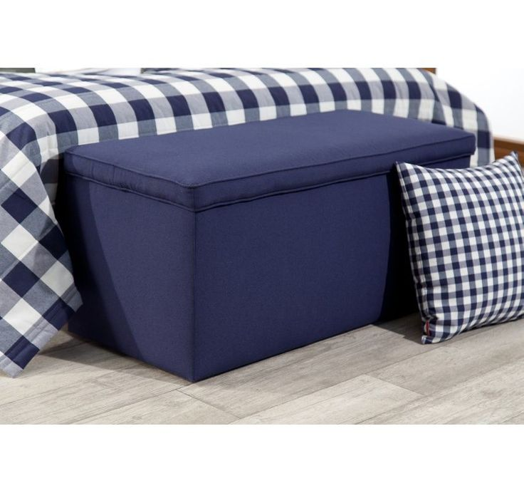 Navy upholstered sofa