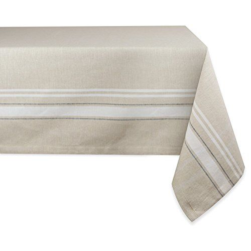 DII Cotton, Machine Washable, Everyday French Stripe Kitchen Tablecloth For  Dinner Parties, Summer U0026 Outdoor Picnics   Seats 10 To 12 People, White