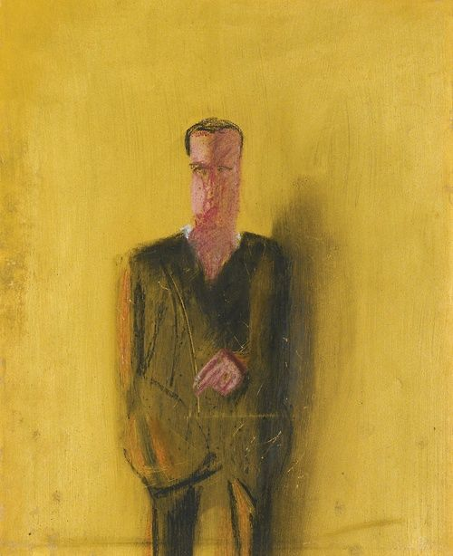 Michelangelo Pistoletto (Italian, b. 1933), Presenza, 1962. Gold varnish, tempera, pastel and oil on paper, 49.5 x 39.8 cm.
