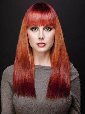 dip dyed red hair color