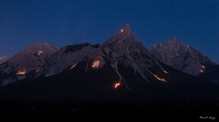 Summer Solstice Fires in Ehrwald, Austria. #edelweissresort