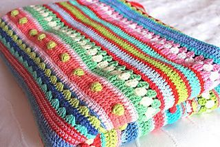 Mixed Stripey Blanket FREE crochet pattern