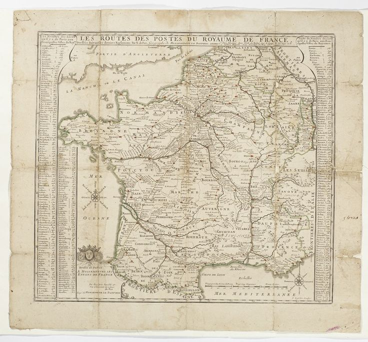 Karta över postrutterna i Frankrike, 1705./ Map of postal routes in France, 1705.